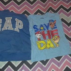 GAP hoodie && paw patrol shirt